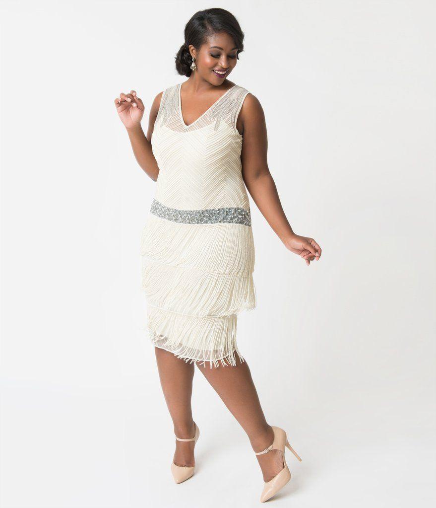 460b04aa2b3 Unique Vintage Plus Size 1920s Ivory Beaded Fringe Rosedale Cocktail Dress