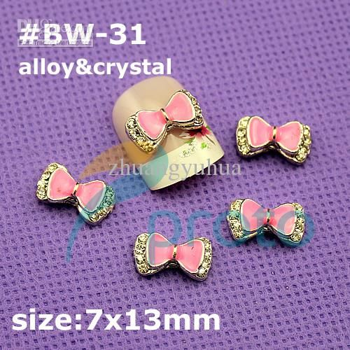 Wholesale 3D Alloy Crystal Pink Bow Tie Nail Art Decoration Cell Phone Laptop Decoration retail BW-31, Free shipping, $0.2-0.44/Piece   DHgate