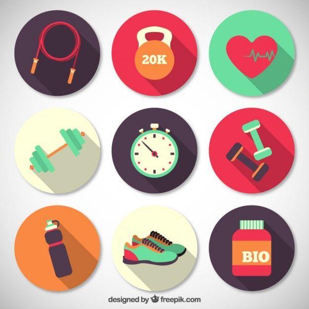 Colección de iconos redondeados Fitness | Descargar ahora vectores gratis en Freepik,  #Ahora #colec...