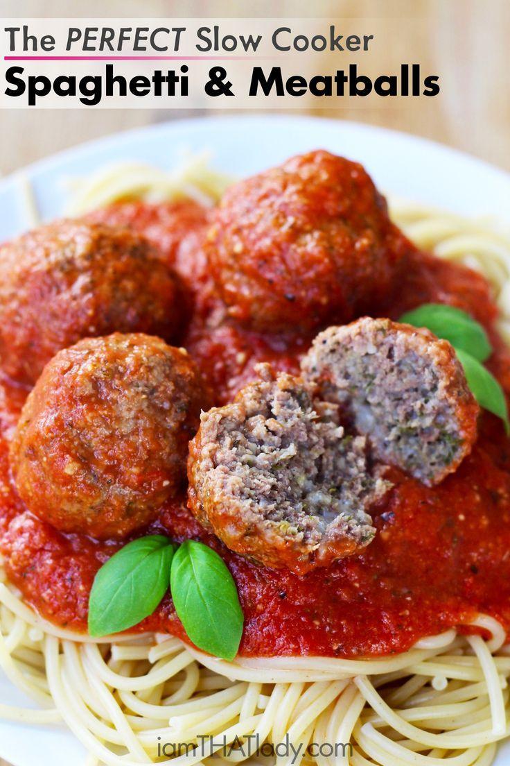 Slow Cooker Spaghetti and Meatballs via Lauren Greutman