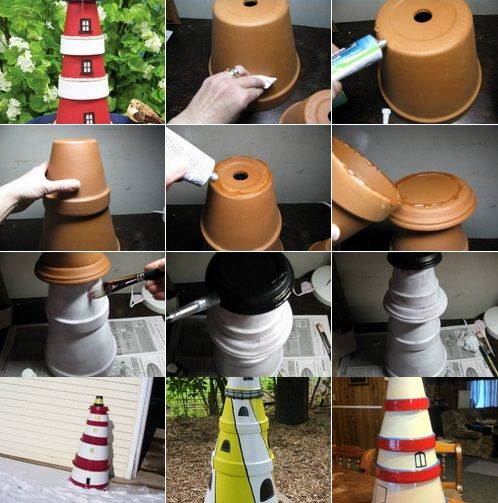 DIY Clay Pot Lighthouse.....going to do this for the garden