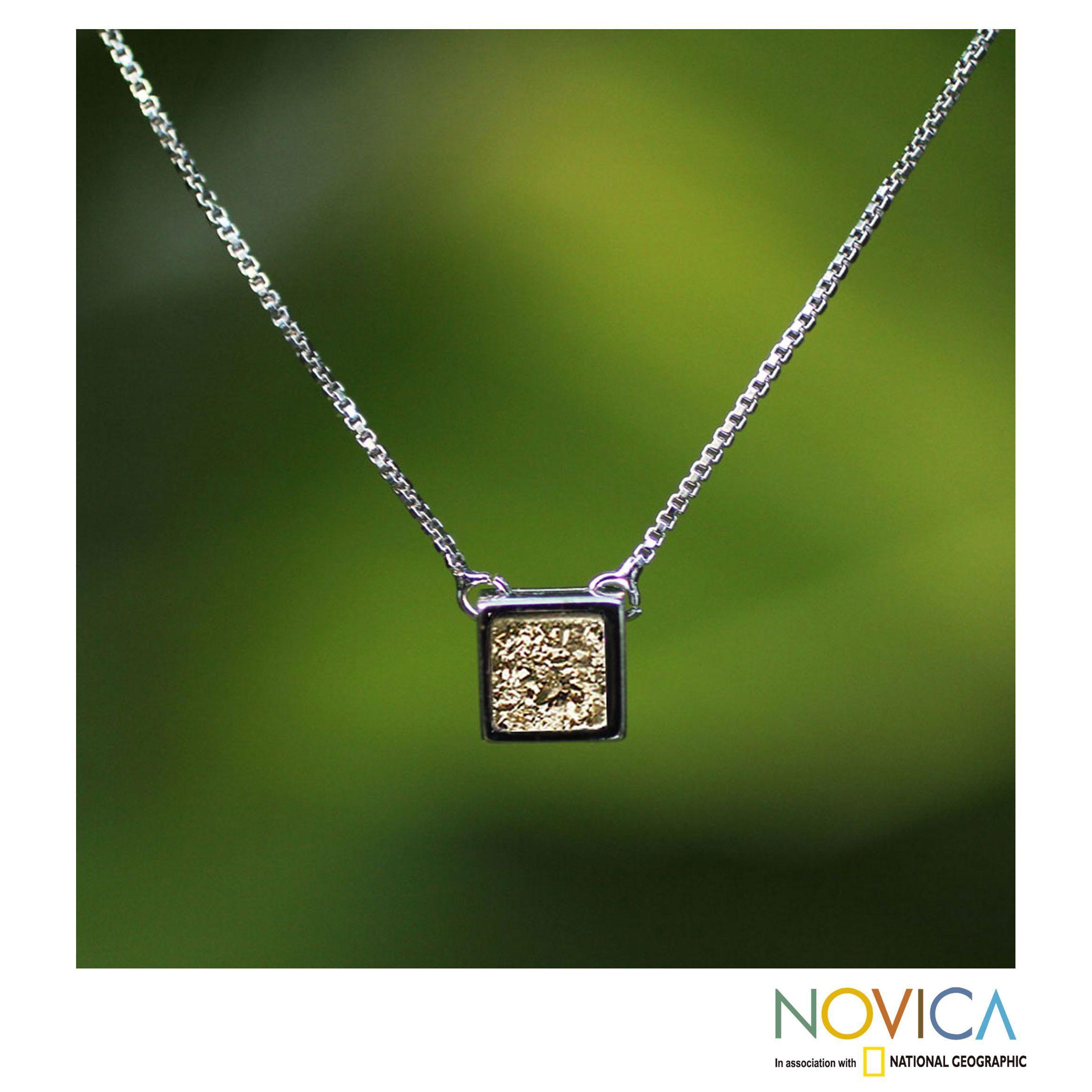 Novica discreet joy square cut druzy bezel set rhodium plate elegant