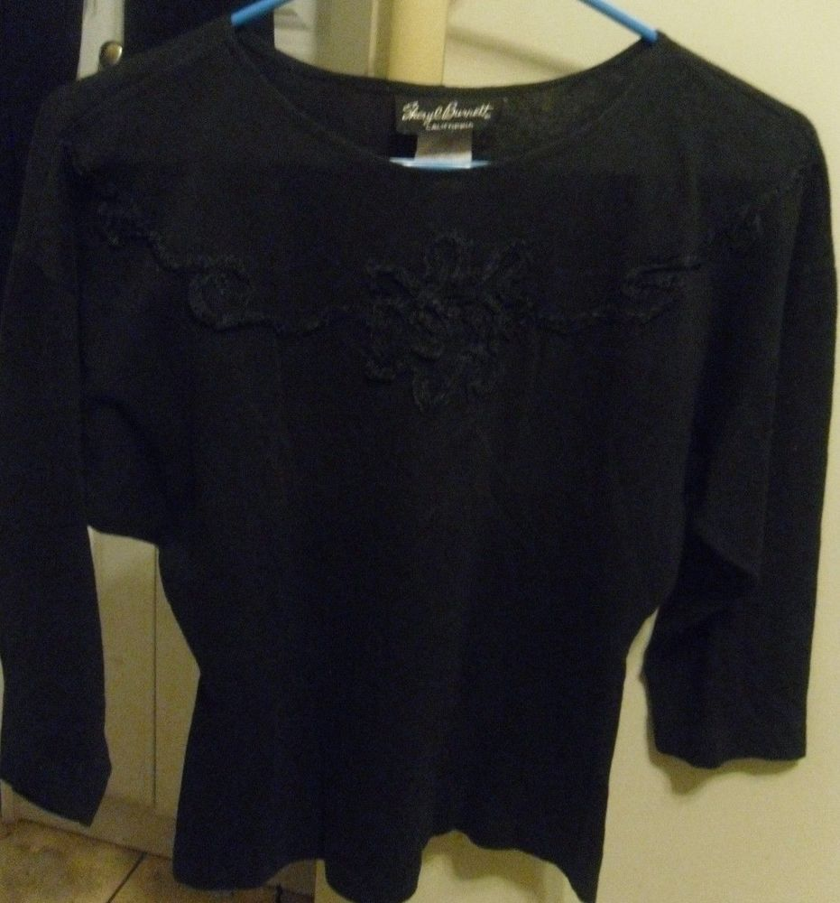 "BLOUSE TOP - ""SHERYL BURNETT"" CALIFORNIA VINTAGE BLACK TOP SMALL EMBELLISHED  #SHERYLBURNETT"