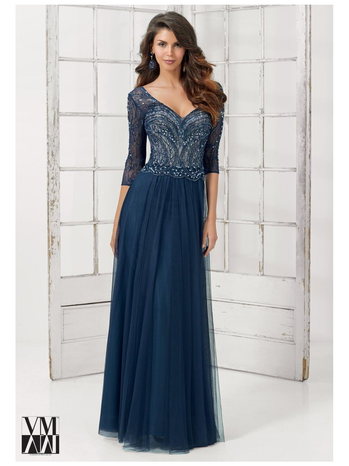 VM Collection 71213 Formal Gown with Stole: French Novelty