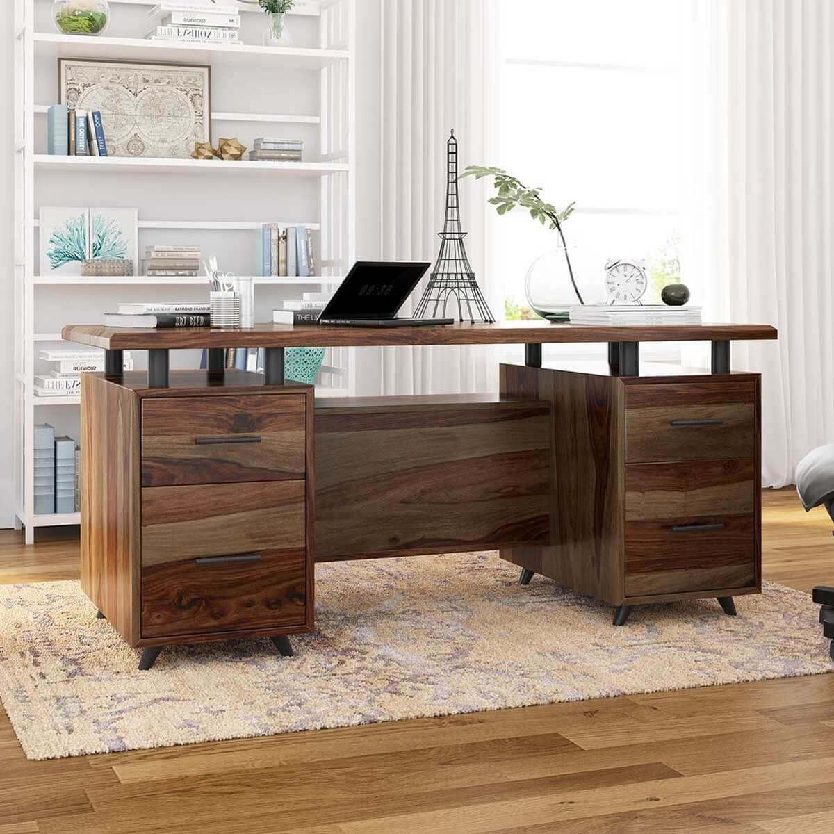 Hondah Solid Wood 70 Large Office Executive Desk With Dual Sided Storage Rustic Home Offices Solid Wood Office Furniture Wood Office Furniture