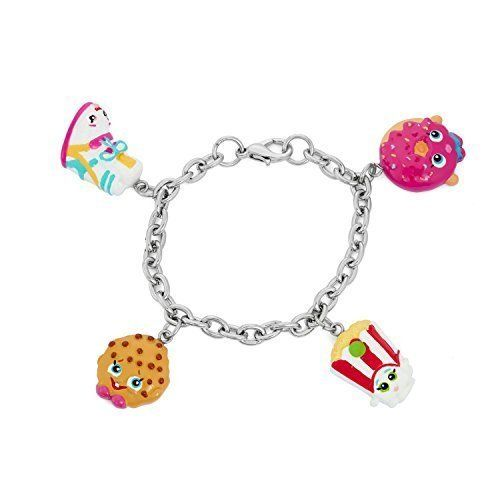 The hottest gift for the holiday season ! Make the litle girl in your life the happiest princess this holiday season Shopkins Painted Character Charm Bracelet Sneaky Wedge Kooky Cookie Poppy Corn D...