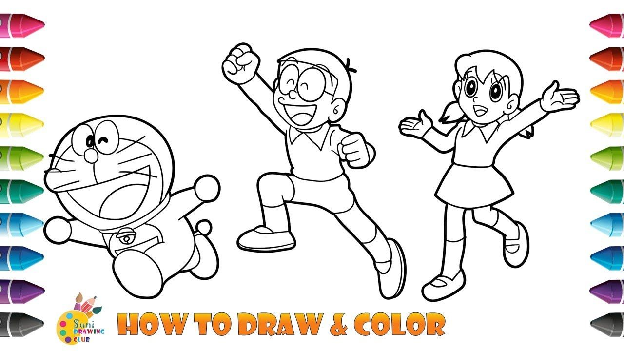 How To Draw And Color Doraemon With Shizuka And Nobita Doraemon Colori Doraemon Drawing For Kids Drawings