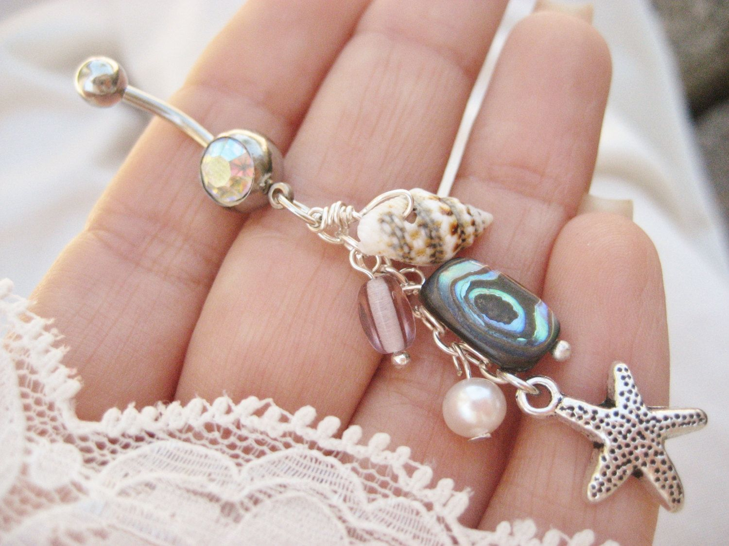 Long belly piercing  Belly Button Jewelry Ring Abalone Real Seashell Shell Beach Mermaid