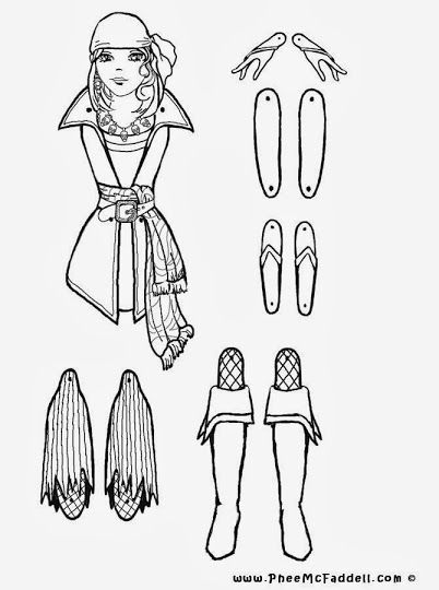 Marioneta Pirata Chica Colorear U003d Girl Pirate Marionette To Color, Cut And  Assemble · Pirate ThemeColoring SheetsPaper ...