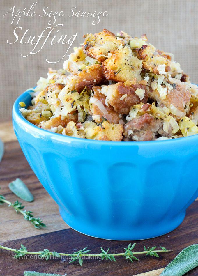 Apple Sage Sausage Stuffing Recipe Thanksgiving Pinterest