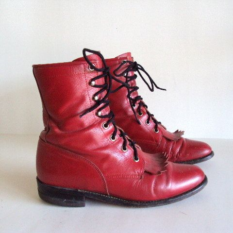 Sz 6 1 2 Vintage Granny Laced Up Red Justin Ropers Combat