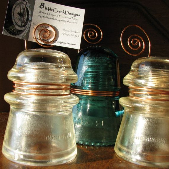 This Is A Blue Green Glass Insulator Marked Heminggray 21 Made In Usa It Is Wrapped In Copper Wire That Spirals U Glass Insulators Glass Crafts Insulation