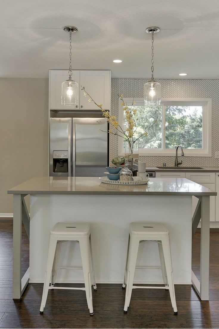 beautiful white kitchen island with gray side pieces gray quartz countertops and pendant on kitchen island ideas white quartz id=87964