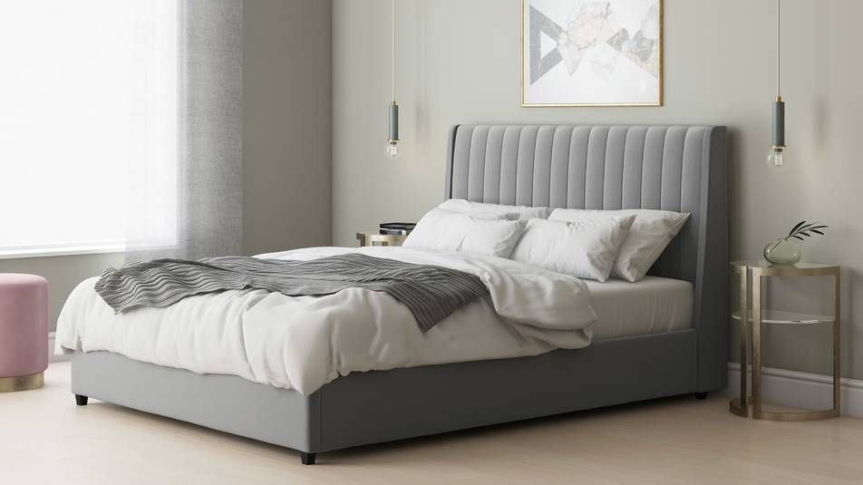 Amalfi Feather Grey Velvet King Size Bed With Storage Super King