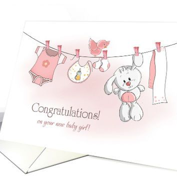 Congratulations Baby Girl with Bunny and from greetingcardunivers