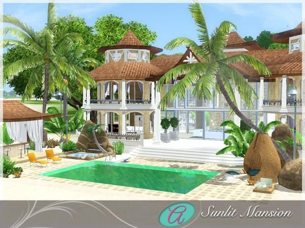 The Sims Resource Tsr Sunlit Mansion Beach House By Aloleng