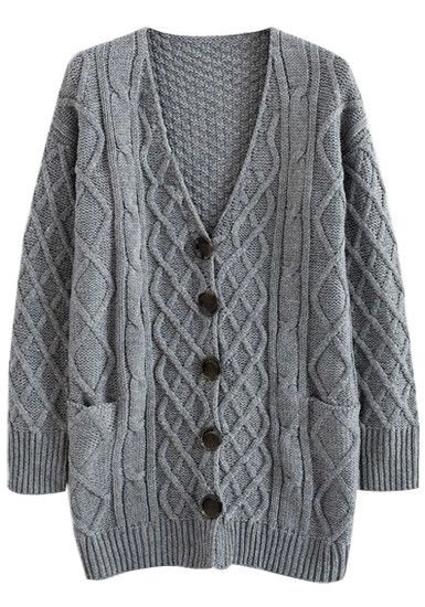 7439a9c729 Cable Knit Oversized Cardigan - Grey - Loose Fit Knit Sweater