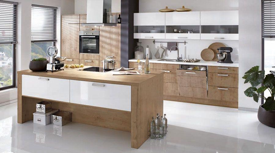 Fronten in Eiche Provence Nachbildung Hängeschränke in Hochglanz - Küchen Weiß Hochglanz