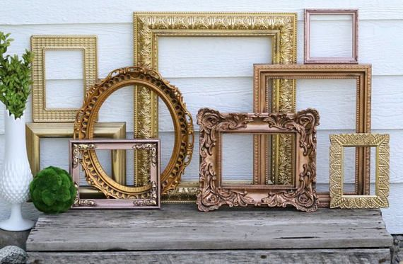 Set of 9 Open Frames - Rose Gold, Gold, Copper - Wall Gallery ...