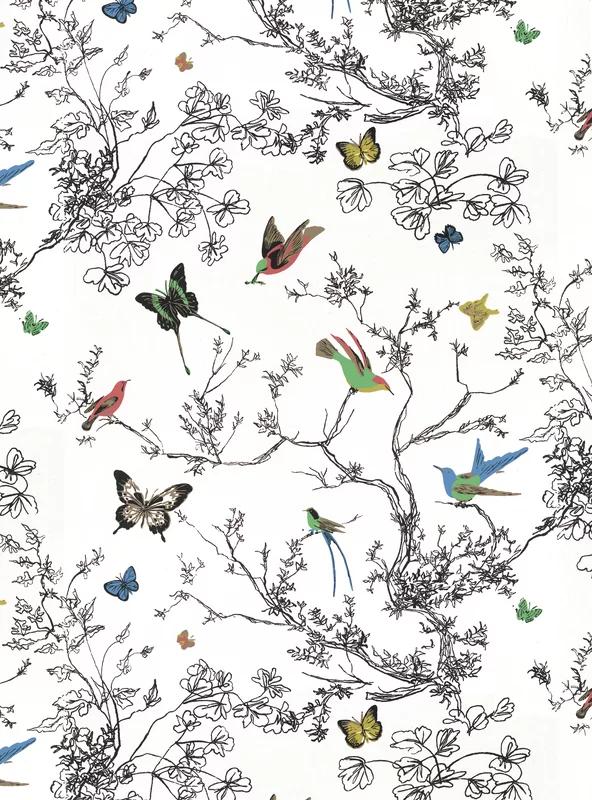 """Schumacher Birds & Butterflies 15' L x 27"""" W Wallpaper"""