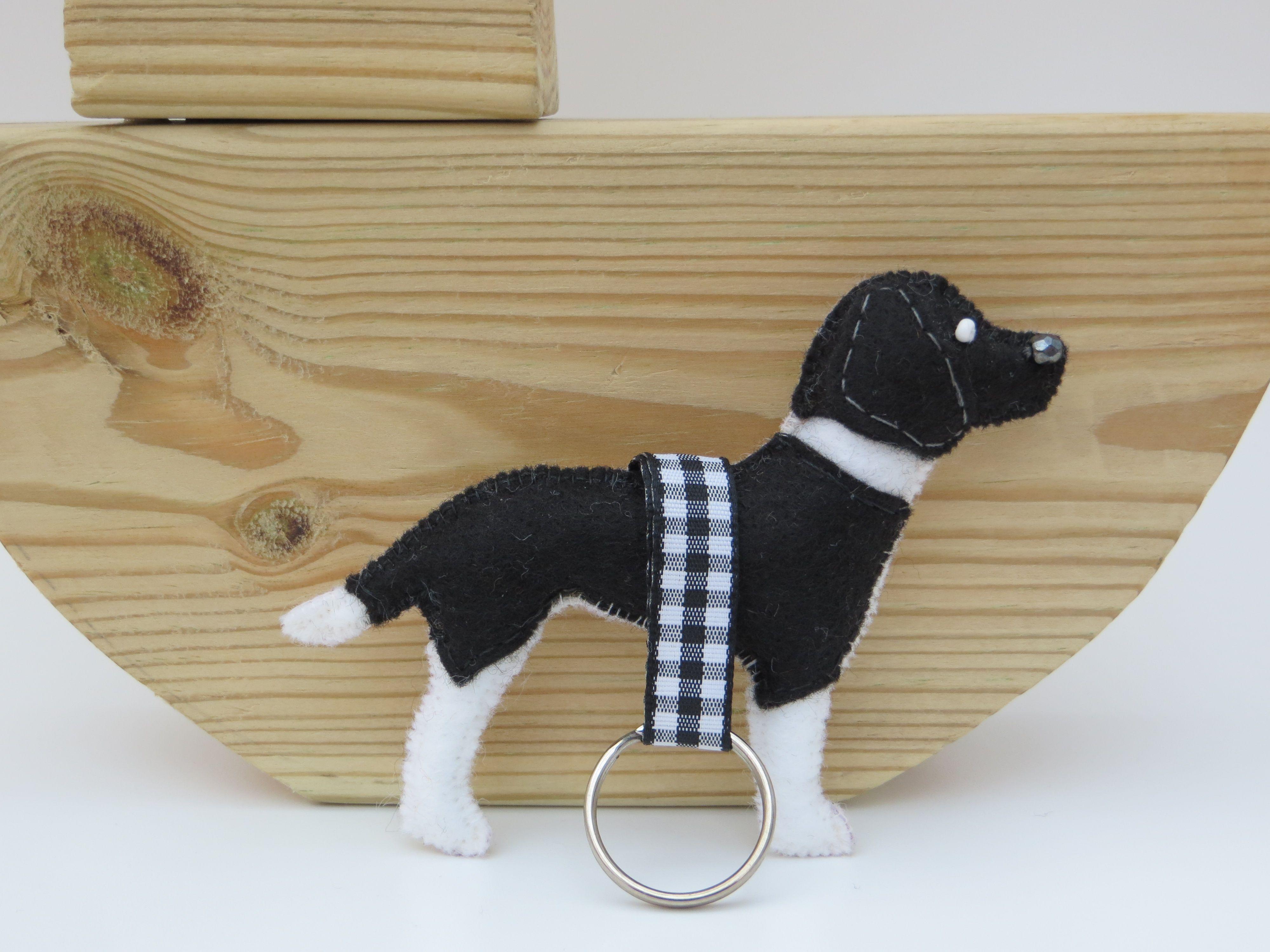 Hand sewn black and white Springer Spaniel keyring (With
