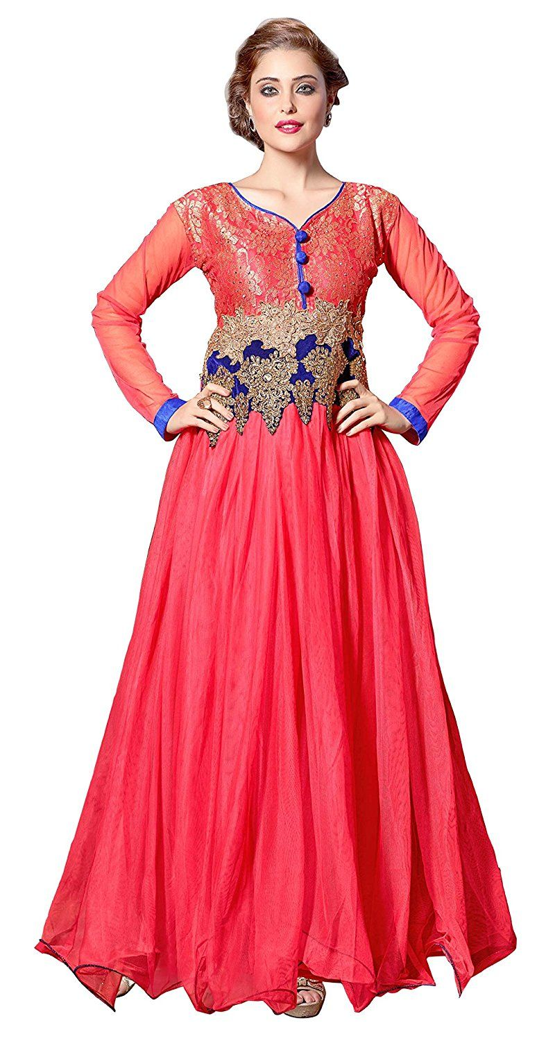 Indian women traditional party wear dress long net gown ueueue you can