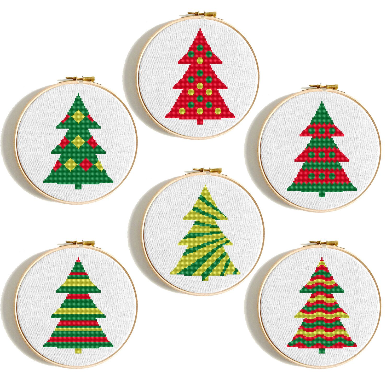 Christmas Tree Cross Stitch Pattern Set Merry Christmas Tree Etsy Cross Stitch Christmas Gifts Cross Stitch Tree Cross Stitch Christmas Cards