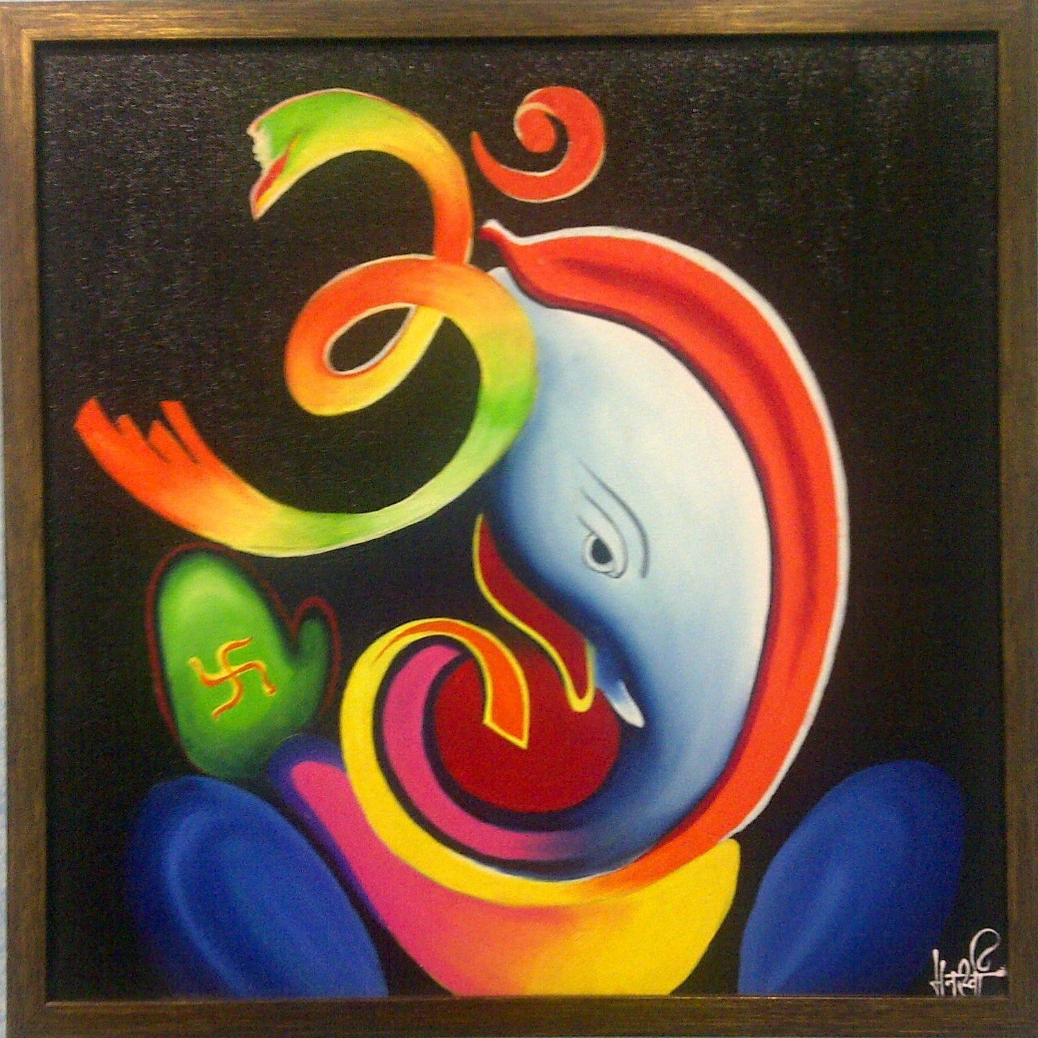 Ganesha Abstract Art with Om and Buddhist symbol   Ganesha painting, Lord  ganesha paintings, Ganesha art