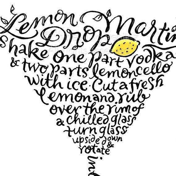 Handlettered Lemon Drop Martini Recipe Art Piece  by smileshop,