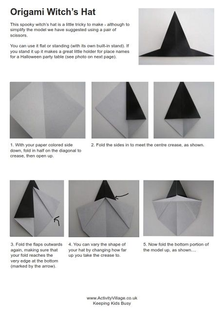 Origami witch's hat instructions   halloween   Origami witch ... on