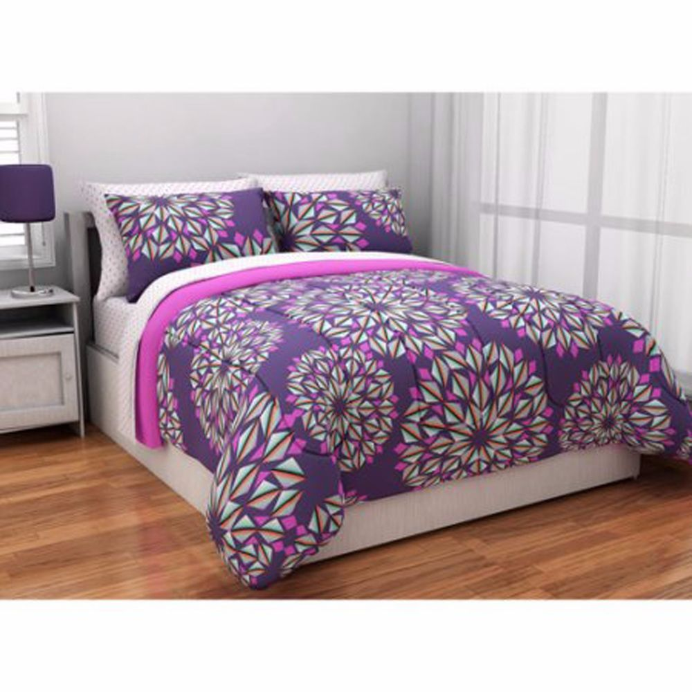 Bedding set for teens twin xl comforter reversible bed in for Bedding violet