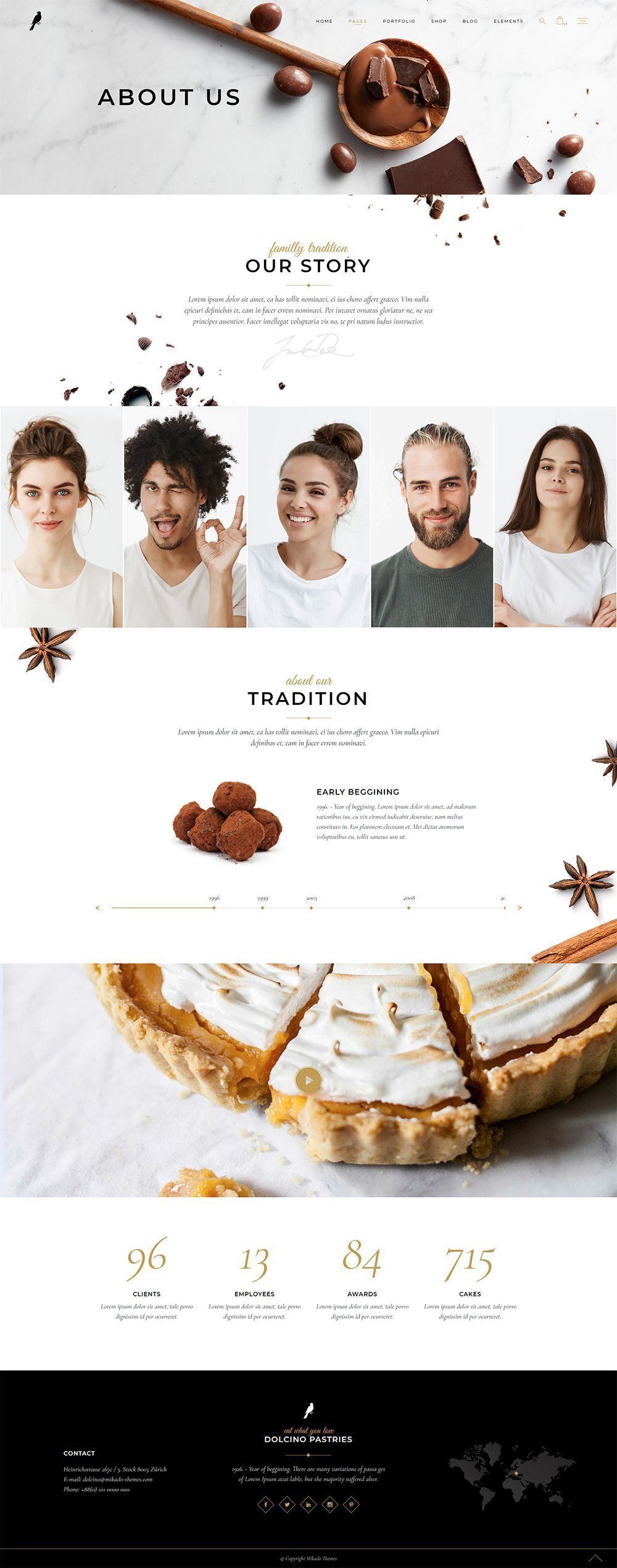 Introduce your bakery or pastry shop in the sweetest way, as you can see from Dolcino WordPress theme templates! #wordpress #theme #design #webdesign #uxdesign #uidesign #responsive #designinspiration #webdesign #wordpresslove #template #layout #websitedesign #branding #websiteideas #webart #webpage #visual