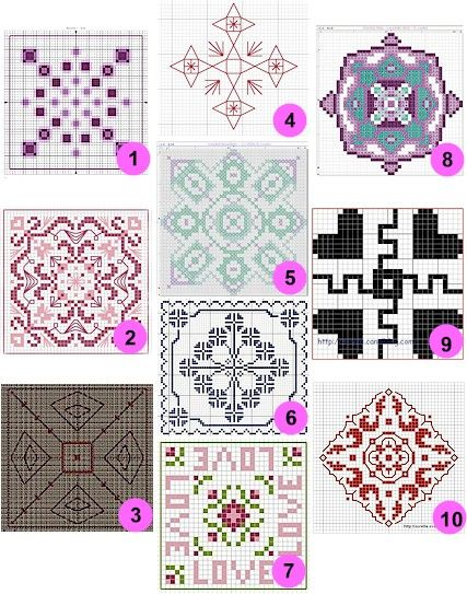 Free patterns and charts: Biscornu