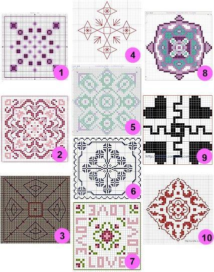 Free patterns and charts: Biscornu | Pinterest | Punto de ...