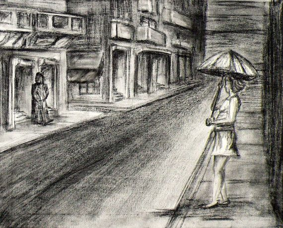 Charcoal Landscape Drawing Woman On Street By Wildrunningart 45 00 Landscape Drawings Easy Charcoal Drawings David Hockney Landscapes