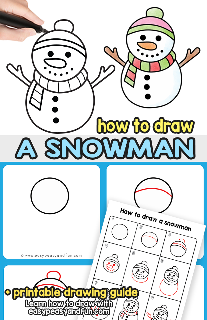 How to Draw a Snowman Step by Step Drawing Guide Draw