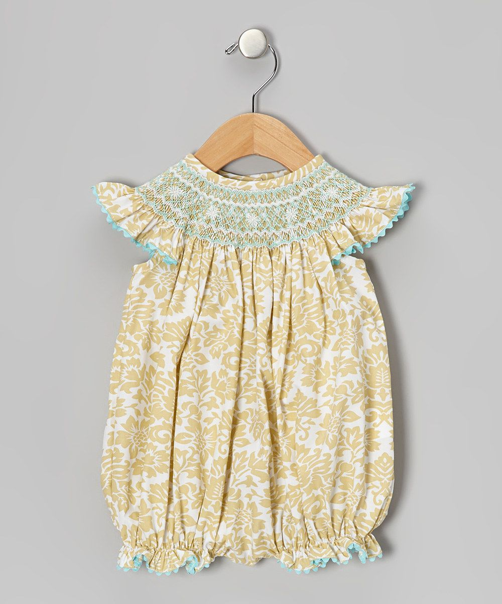 0df1d81ae63 Take a look at this Khaki Damask Smocked Bubble Bodysuit - Infant   Toddler  on zulily today!