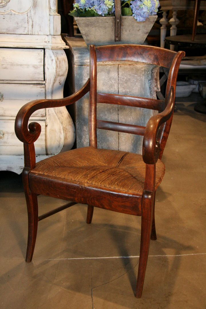 Antique French Louis Philippe Country Armchair With A Rush Seat.. Early  1800u2032s $880