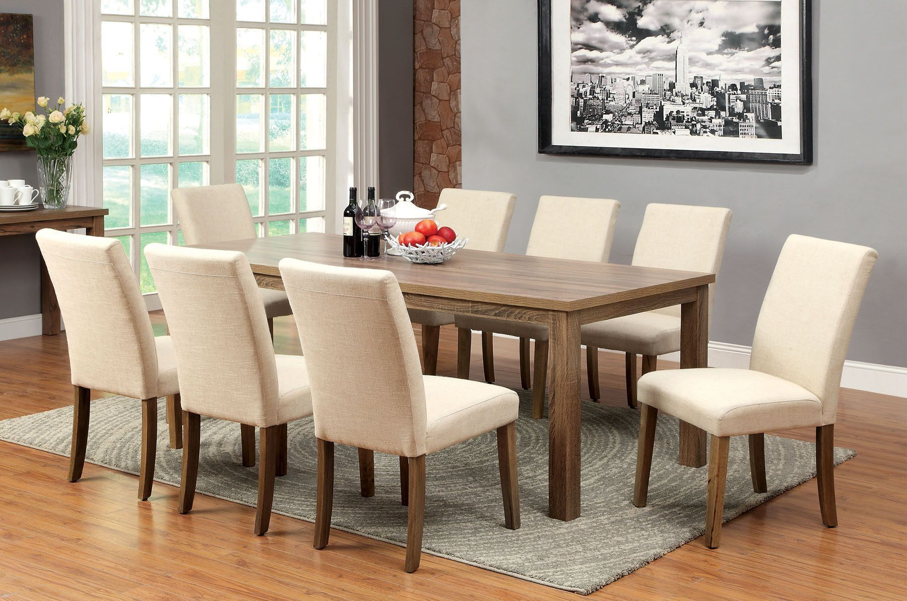 Soreen 9 Pcs White Dining Table & Chairs Set Cm3554T  Products Gorgeous 9 Pcs Dining Room Set Design Decoration