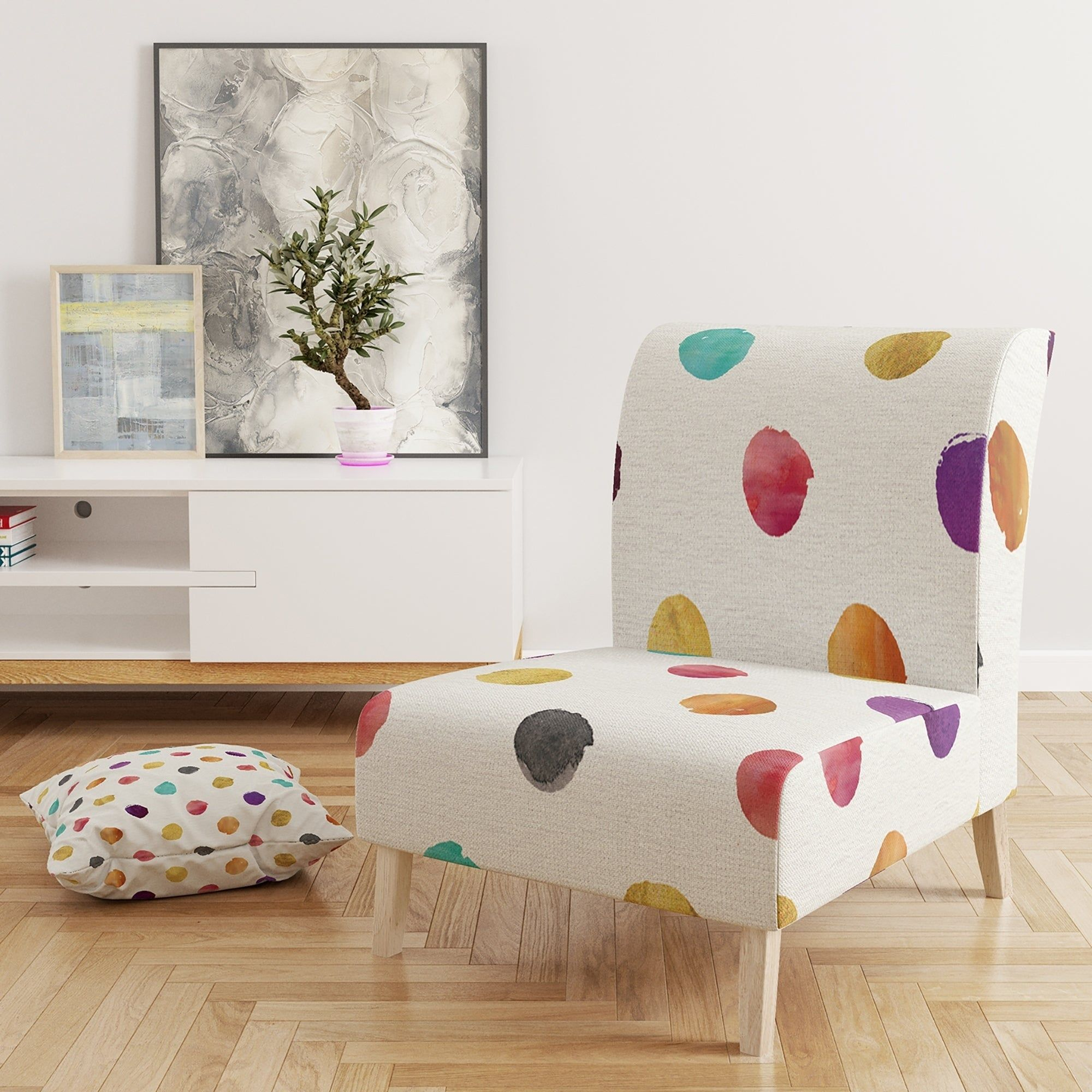 Best Designart Orange Blue And Purple Polka Dot Pattern 400 x 300