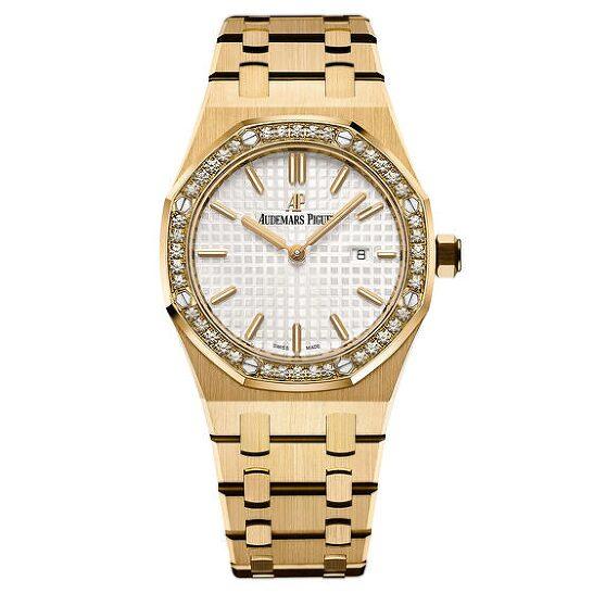 Audemars Piguet Royal Oak Silver Dial Ladies 18 Carat Yellow Gold Watch 67651ba Zz 1261ba 01 In 2021 Audemars Piguet Gold Watch Audemars Piguet Gold