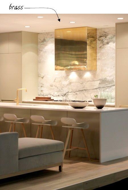 Brass Kitchen Interior Contemporary Kitchen White Marble Kitchen