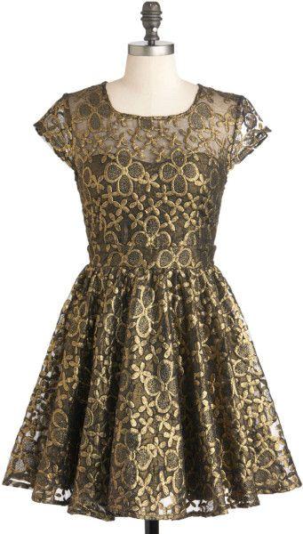 Modcloth Pink Golden Garden Dress