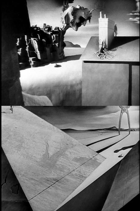 "Stills from the Salvador Dalí-designed dream sequence in Spellbound (""Quando Fala o Coração"", 1945, dir. Alfred Hitchcock). Film-Noir. Stars: Ingrid Bergman, Gregory Peck, Michael Chekhov 