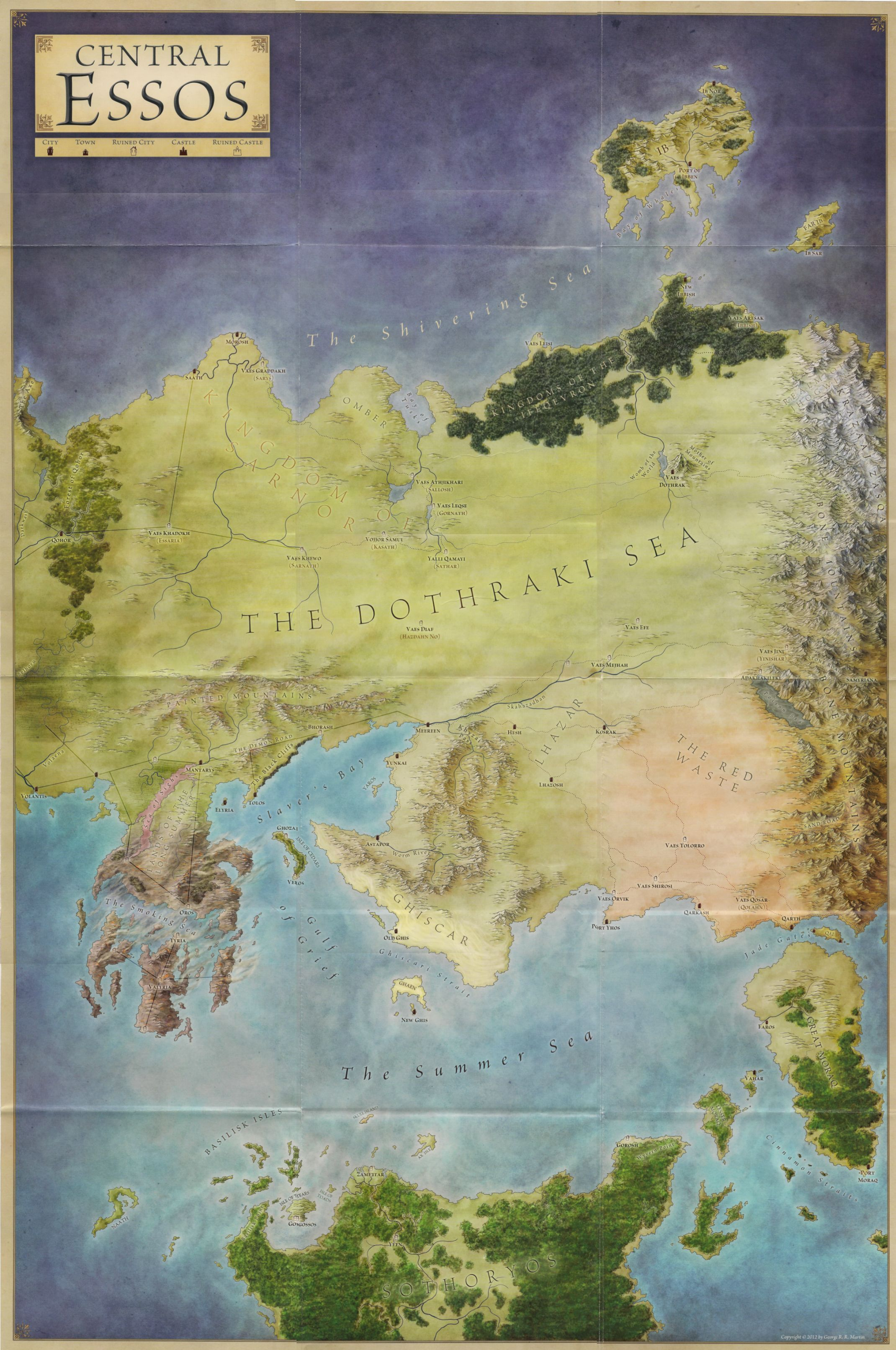 map of central essos a song of ice and fire Books Comics