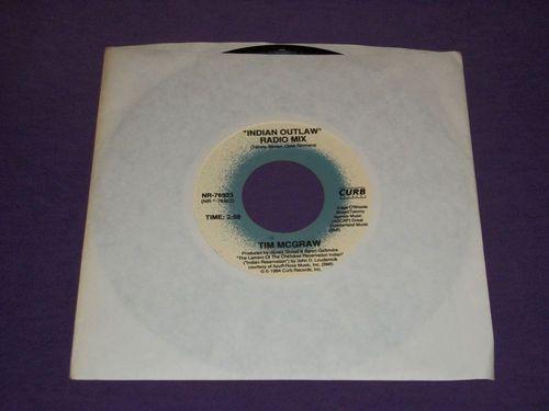 "Tim McGraw / Indian Outlaw (Radio Mix) / Don't Take The Girl / RARE 7"" Vinyl 45 / Near Mint"