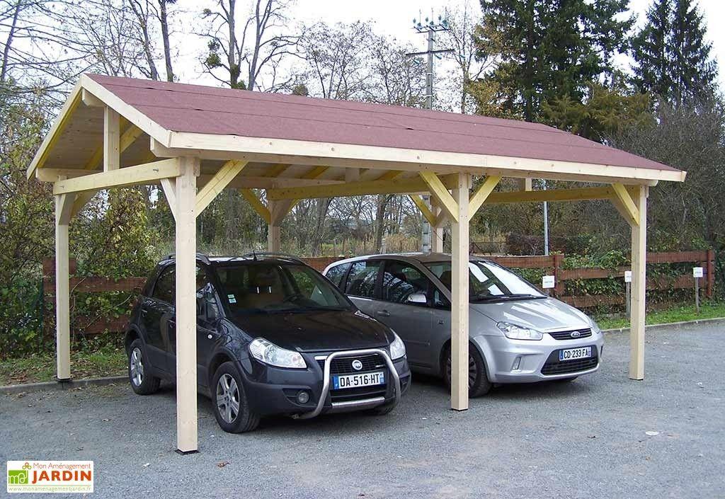 Carport Bois Toit 2 Pentes Bardeaux Bitumes 6 X 4 5 M Carport Bois Toit Charpente Bois