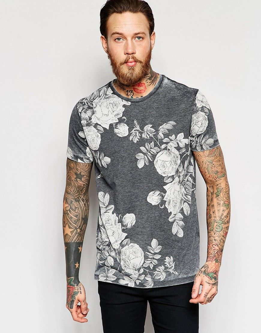 Image 1 of ASOS T-Shirt With Burn Out Wash And Floral Print In Relaxed