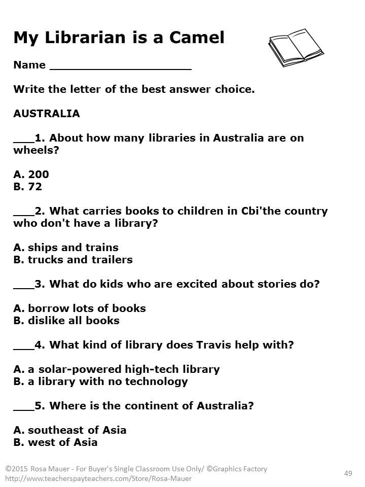 My librarian is a camel activities comprehension questions my librarian is a camel how books are brought to children around the world by margriet ruurs is the focus of these 80 comprehension questions provided in fandeluxe Image collections