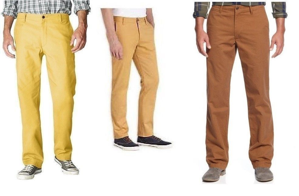 IZOD Mens American Chino Flat Front Straight Fit Pants size 32 33 34 38 40 NEW